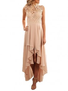 Apricot Patchwork Cut Out Lace Irregular Sleeveless Party Maxi Dress