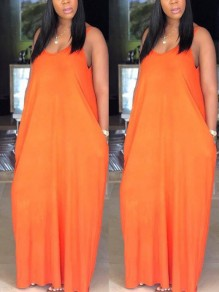 Orange Pockets Draped Spaghetti Strap V-Back Deep V-neck Casual Maxi Dress