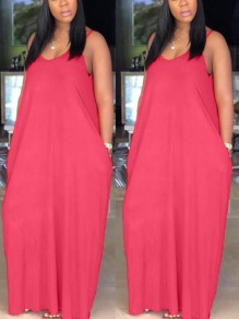 Red Pockets Draped Spaghetti Strap V-Back Deep V-neck Casual Maxi Dress