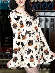 White Pumpkin Skeleton Print Pleated Hallowmas Cute Party Mini Dress