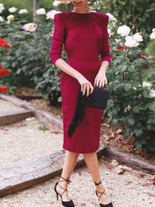 Wine Red Bow Cut Out Round Neck Fashion Midi Dress