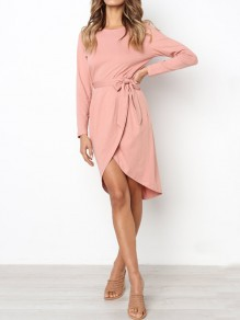 Pink Irregular Sashes Round Neck Long Sleeve Casual Midi Dress