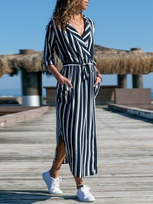 Navy Blue Striped Pockets Sashes V-neck Casual Maxi Dress