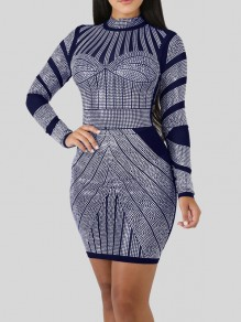 Sapphire Blue Rhinestone Bodycon Long Sleeve Round Neck Elegant Party Mini Dress