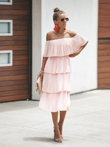 Pink Cascading Ruffle Boat Neck Fashion Maxi Dress