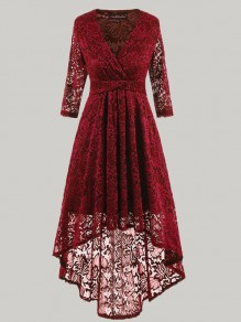 Wine Red Lace Draped Irregular Swallowtail V-neck Three Quarter Length Sleeve Elegant Midi?Dress