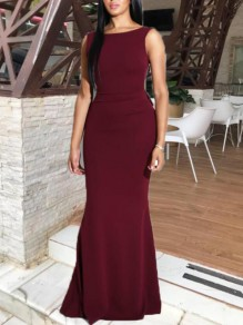 Burgundy Irregular Ruffle Backless Bow Mermaid Elegant Prom Banquet Maxi Dress