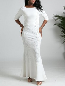 White Patchwork Pearl Rainstone Diamond Mermaid Bodycon Church Elegant Prom Maxi Dress