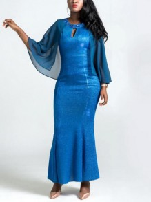Blue Patchwork Pearl Rainstone Diamond Grenadine Cut Out Mermaid Bright Wire Elegant Maxi Dress