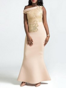 Apricot Patchwork Sequin Ruffle Oblique Shoulder Bodycon Mermaid Elegant Prom Banquet Maxi Dress