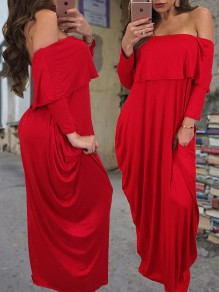 Burgundy Ruffle Pokets Draped Off Shoulder Backless Long Sleeve Casual Oversized Oversized Maxi Dress