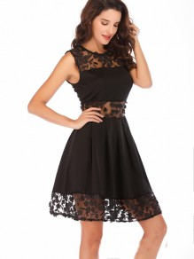 Black Lace Patchwork Collarless Sleeveless Fashion Mini Dress