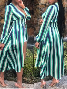 Green Striped Front Slit Long Sleeve Beachwear Party Maxi Dress