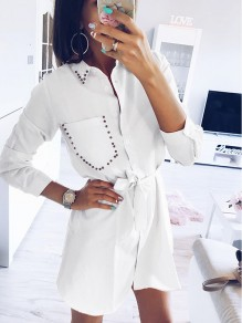 White Buttons Rivet Turndown Collar Going out Sweet Mini Dress