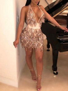 Golden Patchwork Sequin Tassel Sashes Backless Halter Neck Sparkly Deep V-neck Clubwear Mini Dress