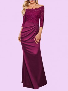 Burgundy Patchwork Lace Wavy Edge Off Shoulder Backless 3/4 Sleeve Elegant Formal Banquet Maxi Dress