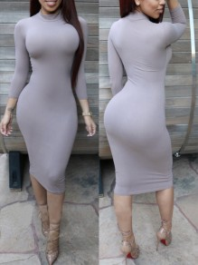 Grey bodycon Comfy Pastel Long Sleeve High Neck Clubwear Daily Casual Midi Dress