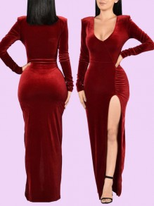 Burgundy Slit Side Velvet Robe Style Long Sleeve Deep V-neck Elegant Formal Banquet Maxi Dress