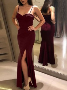 Wine Red Condole Belt Backless Slit Sleeveless Party Maxi Dress