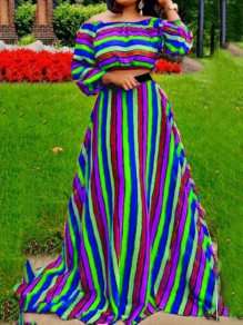Blue Rainbow Striped Jamaican Off Shoulder Two Piece High Waisted Long Sleeve Party Maxi Dress