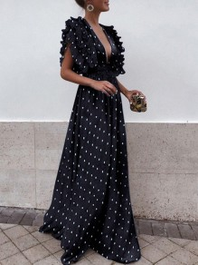 Black Polka Dot Draped Backless Ruffle Plunging Neckline Sleeveless Elegant Maxi Dress