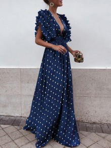 Navy Blue Polka Dot Draped Backless Ruffle Plunging Neckline Sleeveless Elegant Maxi Dress