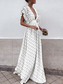 White Polka Dot Draped Backless Ruffle Plunging Neckline Sleeveless Elegant Maxi Dress