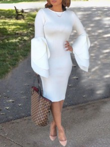 White Irregular Petal Sleeve Church Scuba Elegant Party Midi Dress