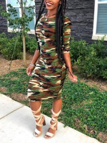 Army Green Camouflage Pattern Long Sleeve Casual Midi Dress