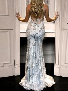 Grey Patchwork Grenadine Sequin Spaghetti Strap Backless Deep V-neck Mermaid Elegant Party Maxi Dress