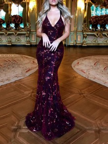 Burgundy Patchwork Grenadine Sequin Spaghetti Strap Backless Deep V-neck Mermaid Elegant Party Maxi Dress