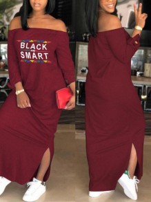 "Weinrot ""BLACK AND SMART"" Schrift Schlitz Off Shoulder Langarm Beiläufige Maxikleid T-shirt Kleid Kaftan Kleid"