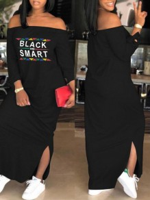 "Black ""BLACK AND SMART"" Print Side Slit Off Shoulder Long Sleeve Casual Maxi Dress"