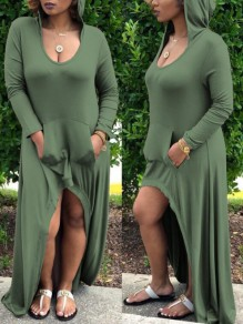 Green Pockets Draped High-Low Hooded Scoop Neck Long Sleeve Casual Maxi Dress