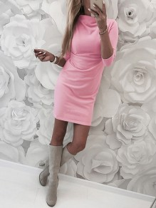 Pink High Neck Long Sleeve Casual Mini Dress