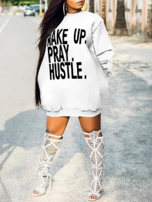 White Monogram Wake Up Pray Hustle Pattern Pockets Scuba Casual Mini Dress