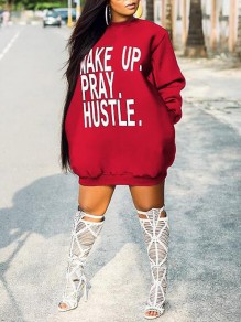 Red Monogram Wake Up Pray Hustle Pattern Pockets Scuba Casual Mini Dress