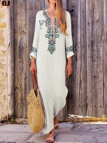 White Floral Print Embroidery Slit Deep V-neck Long Sleeve Bohemian Mexican Maxi Dress