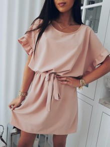 Pink Drawstring Ruffle Round Neck Short Sleeve Mini Dress