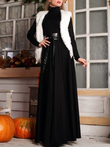 Black Draped Belt Zipper High Neck Long Sleeve Elegant Maxi Dress
