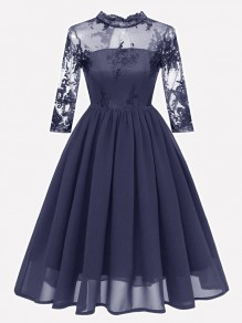 Navy Blue Patchwork Lace Embroidery Band Collar Long Sleeve Midi Dress