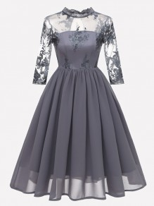 Grey Patchwork Lace Embroidery Band Collar Long Sleeve Midi Dress