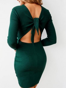 Dark green Cut Out Tie Back Bodycon Backless Long Sleeve Comfy Casual Midi Sweater Dress
