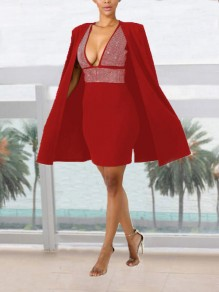 Red Patchwork Rhinestone Diamond Cloak Cape Two Piece Deep V-neck Elegant Mini Dress