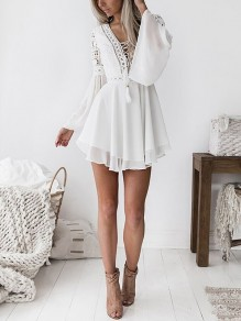 White Patchwork Lace Grenadine Draped Lace-up Flare Sleeve Homecoming Party Mini Dress