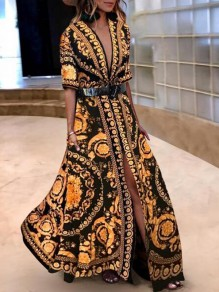 Yellow Tribal Floral Pattern Draped Slit Half Sleeve Casual Maxi Dress