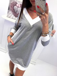 Grey Patchwork Pockets V-neck Fashion Mini Dress