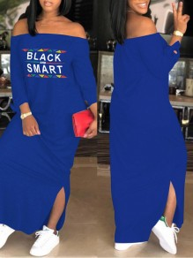 "Blue ""BLACK AND SMART"" Print Side Slit Off Shoulder Long Sleeve Casual Maxi Dress"