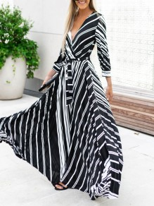 Black Striped Sashe Draped Plunging Neckline Three Quarter Length Sleeve Casual Maxi Dress