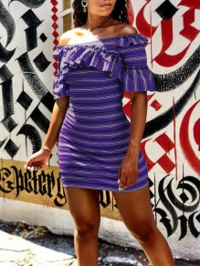 Violet Striped Print Color Block Ruffle Off Shoudler Bodycon Sweet Homecoming Party Mini Dress